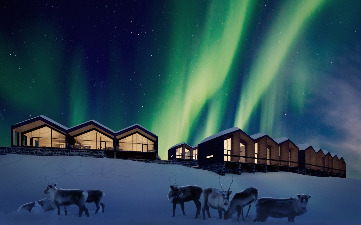 Star Arctic Hotel - Exterior view at night (artist's impression)